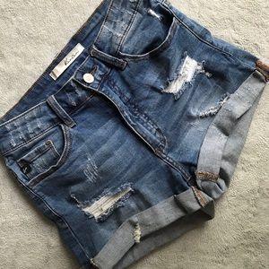 Kancan Cuffed Distressed Stretch Denim Shorts 26